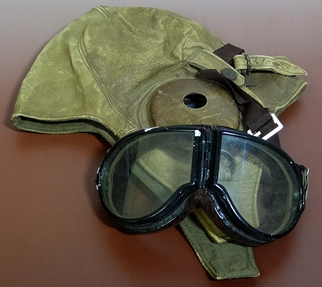 旧日本軍空軍 革製飛行帽 ゴーグル