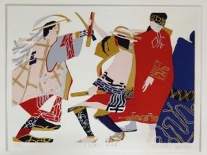 田中正秋 木版画 「まりも祭り 北海道」 1979年 ed207/335 額入01
