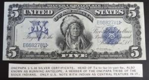 united states 5$ oncpapa indians