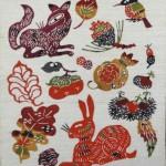 柚木沙弥郎の型絵染「動物と果物」をお譲りいただきました