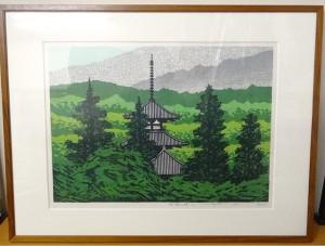 藤田不美夫の木版画「緑映B」をお譲りいただきました。[東京都中央区にて]